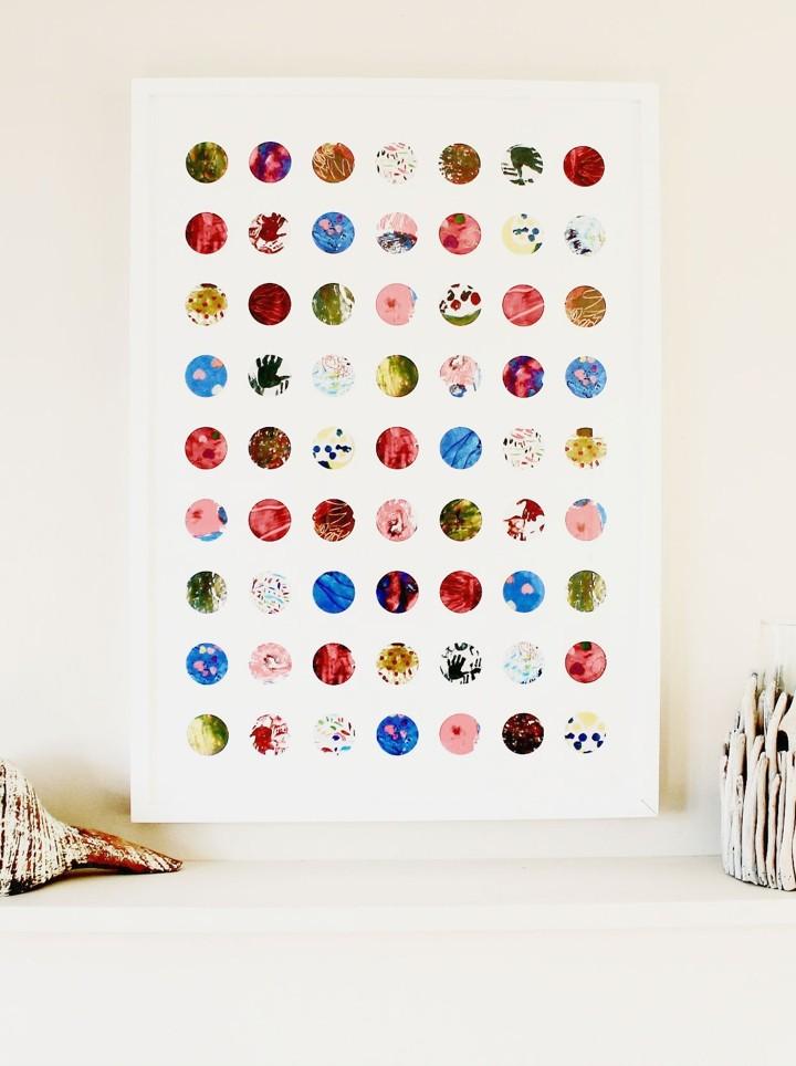 The Circles Print - Child's Artwork Collage